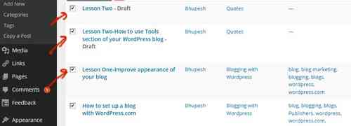 Lesson Three-How to use Posts section of your WordPress blog