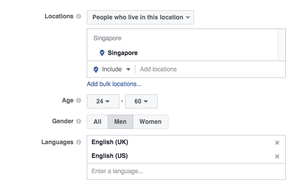 age gender location targeting facebook ads
