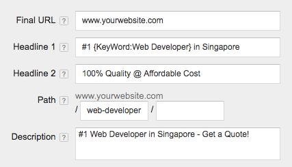 dynamic keywords insertion google adwords