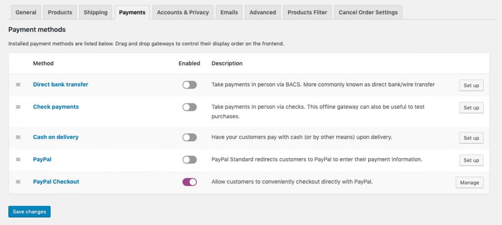 payment settings woocommerce website setup
